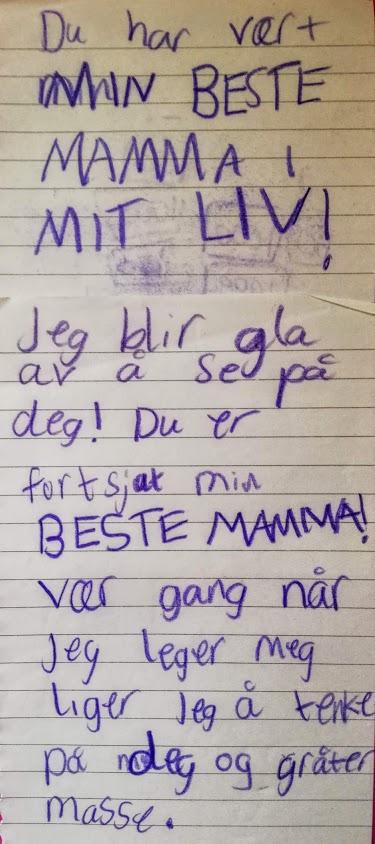 Denne skrev Amina til meg i 2013